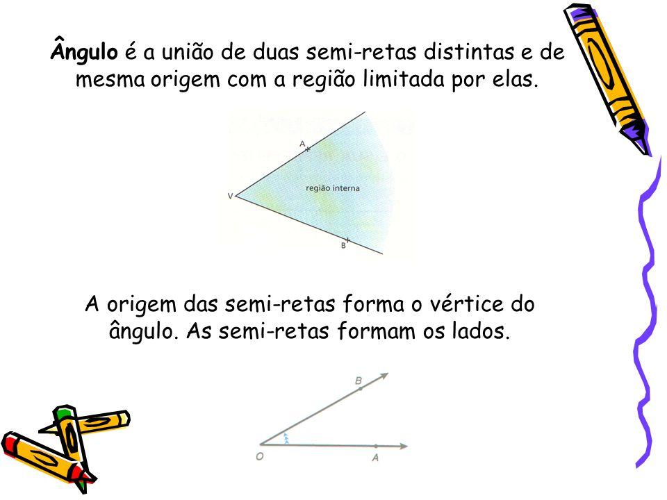 Ângulo é a união de duas semi-retas distintas e de mesma origem com a região limitada por elas.