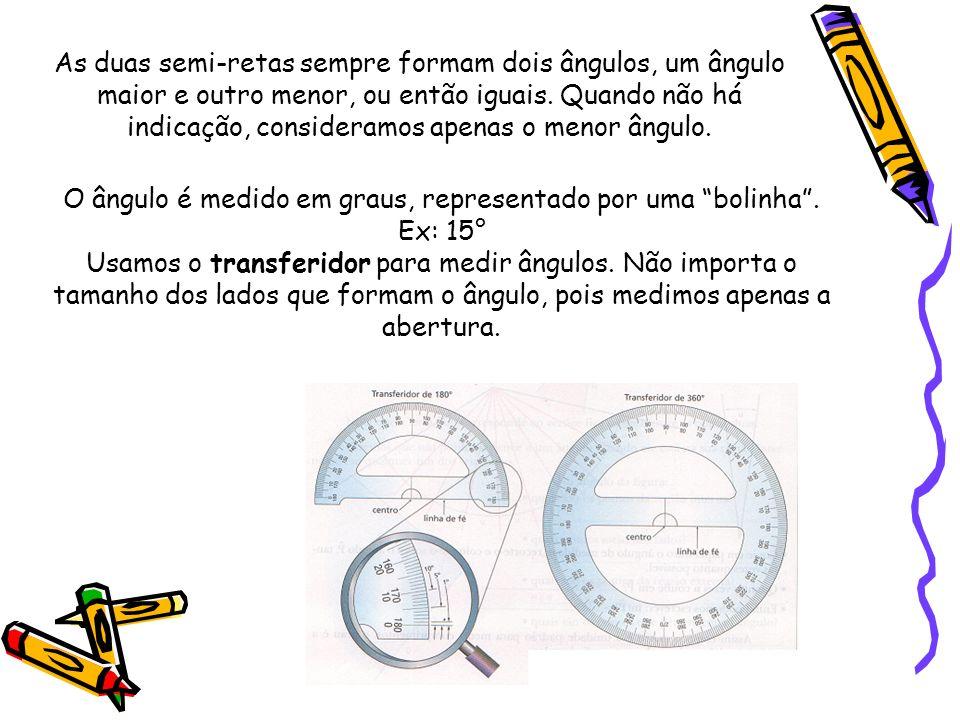 O ângulo é medido em graus, representado por uma bolinha . Ex: 15°