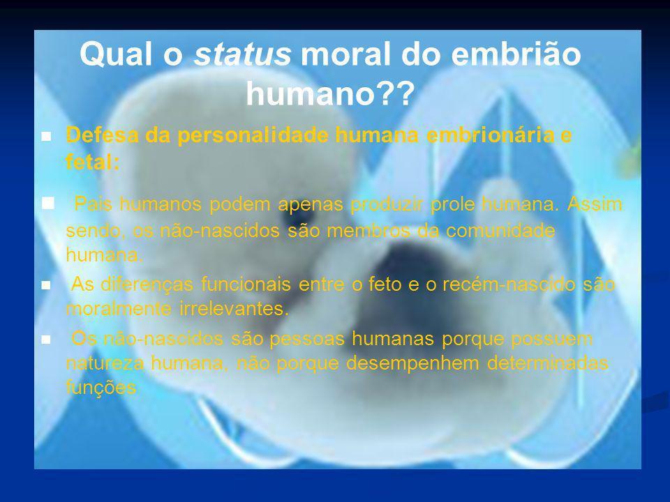 Qual o status moral do embrião humano