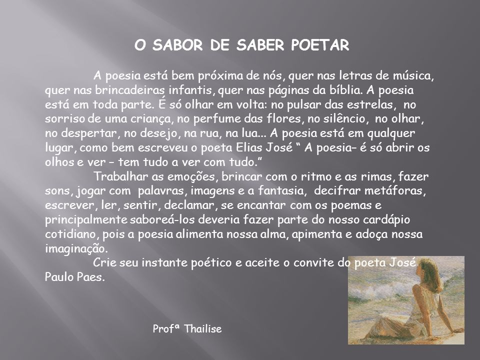 O SABOR DE SABER POETAR