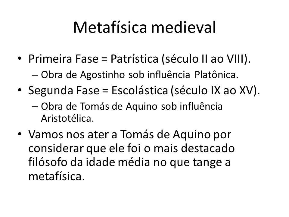 Metafísica medieval Primeira Fase = Patrística (século II ao VIII).
