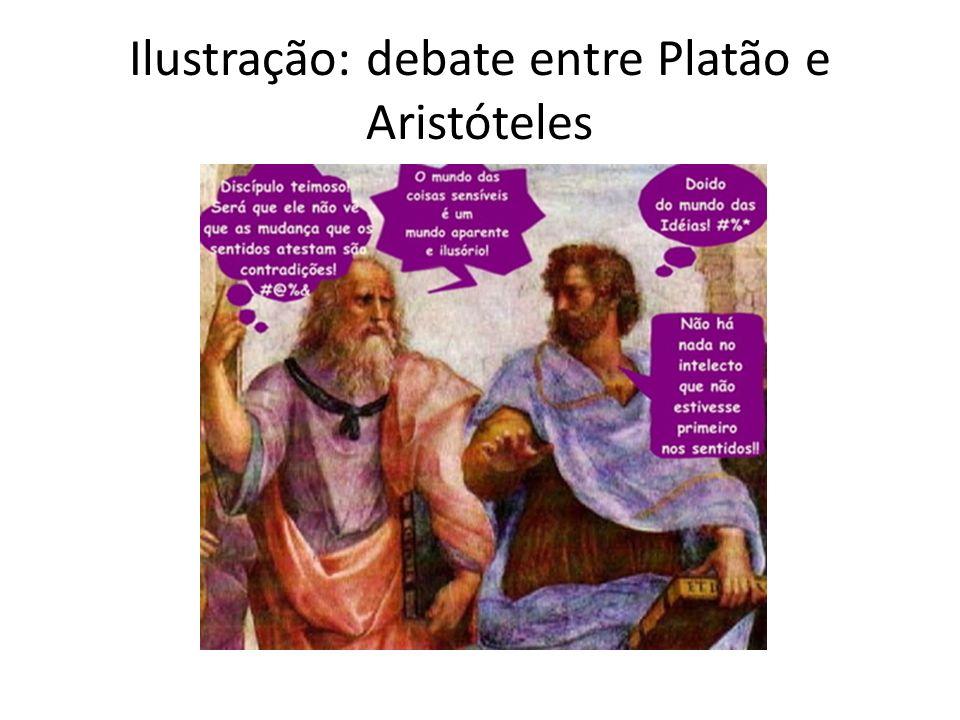 Ilustração: debate entre Platão e Aristóteles