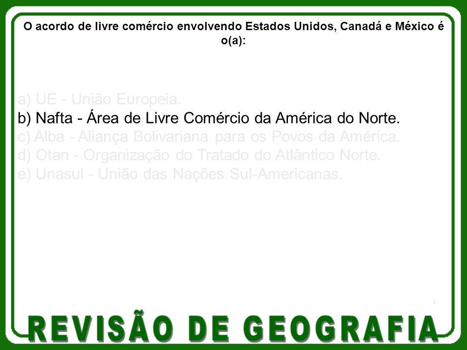 b) Nafta - Área de Livre Comércio da América do Norte.