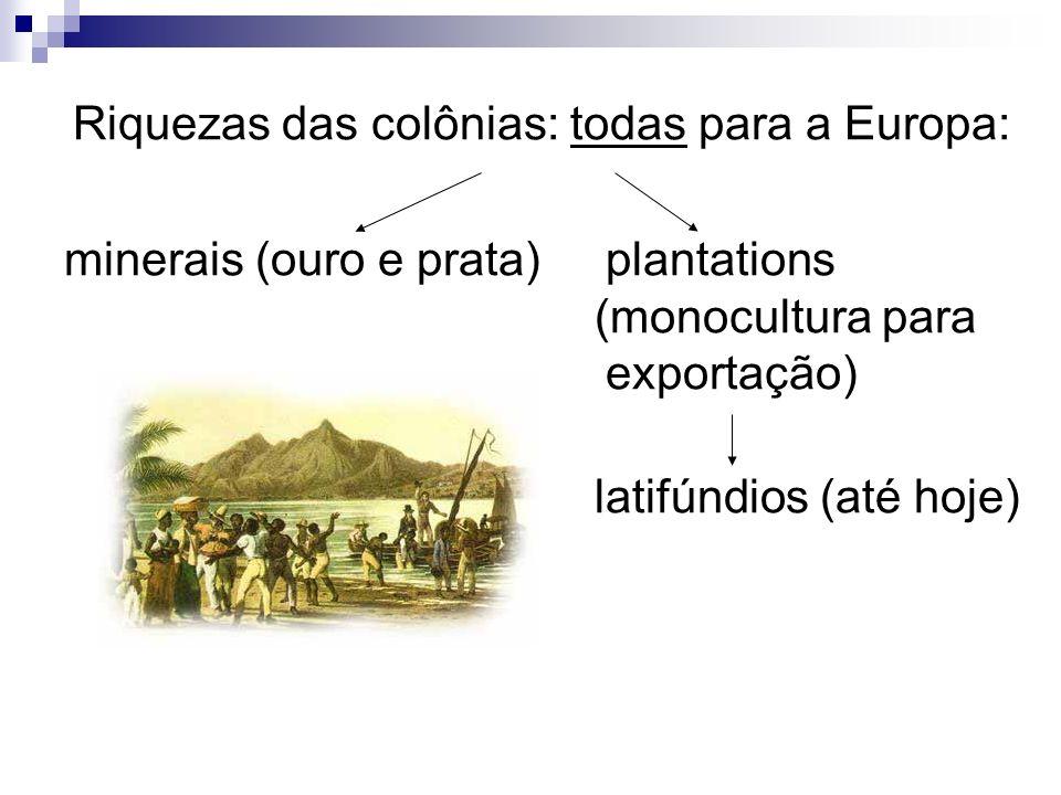 Riquezas das colônias: todas para a Europa: