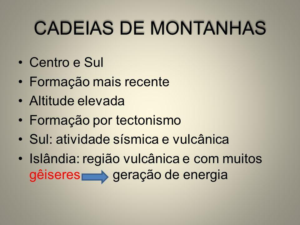 CADEIAS DE MONTANHAS Centro e Sul Formação mais recente