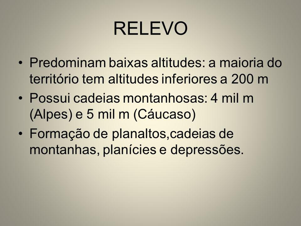 RELEVO Predominam baixas altitudes: a maioria do território tem altitudes inferiores a 200 m.