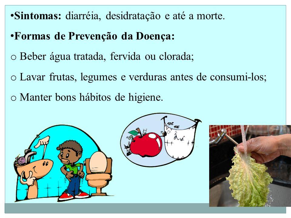 Sintomas: diarréia, desidratação e até a morte.