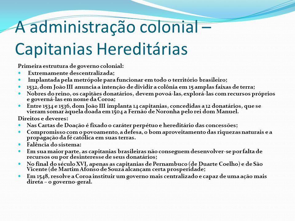 A administração colonial – Capitanias Hereditárias