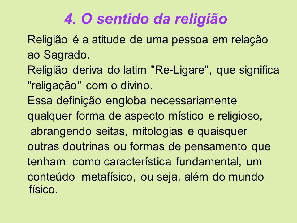 4. O sentido da religião Religião é a atitude de uma pessoa em relação