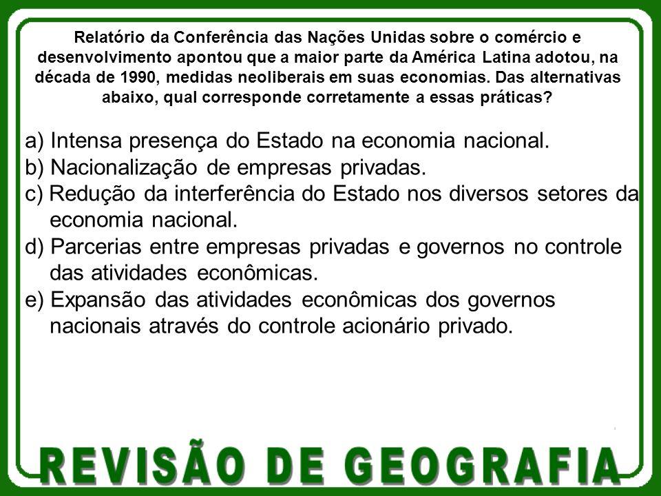 a) Intensa presença do Estado na economia nacional.