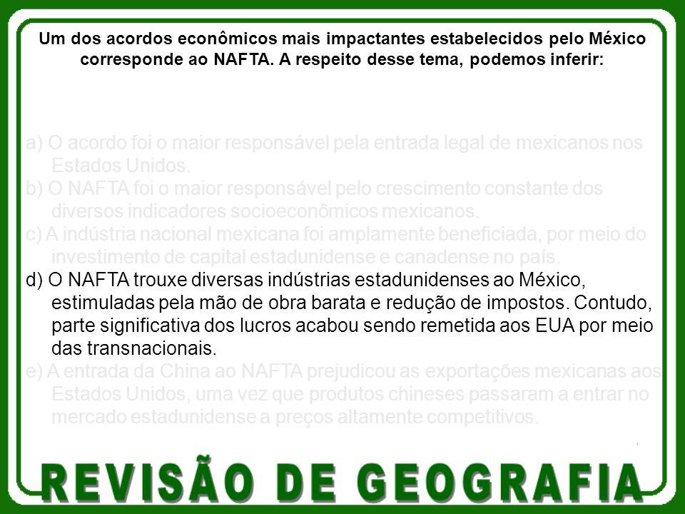 Um dos acordos econômicos mais impactantes estabelecidos pelo México corresponde ao NAFTA. A respeito desse tema, podemos inferir: