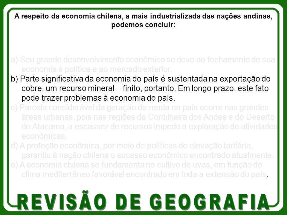 A respeito da economia chilena, a mais industrializada das nações andinas, podemos concluir: