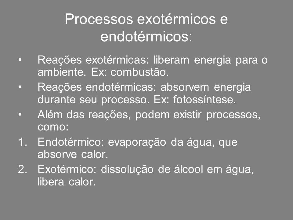 Processos exotérmicos e endotérmicos: