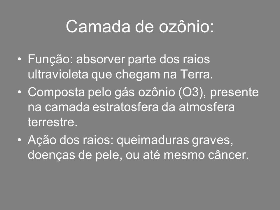 Camada de ozônio: Função: absorver parte dos raios ultravioleta que chegam na Terra.