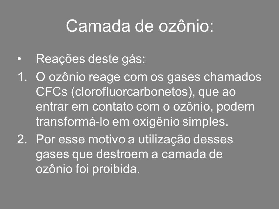 Camada de ozônio: Reações deste gás: