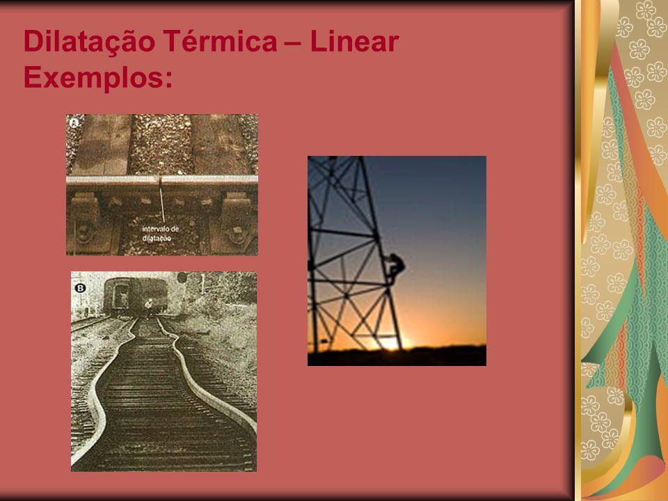 Dilatação Térmica – Linear Exemplos: