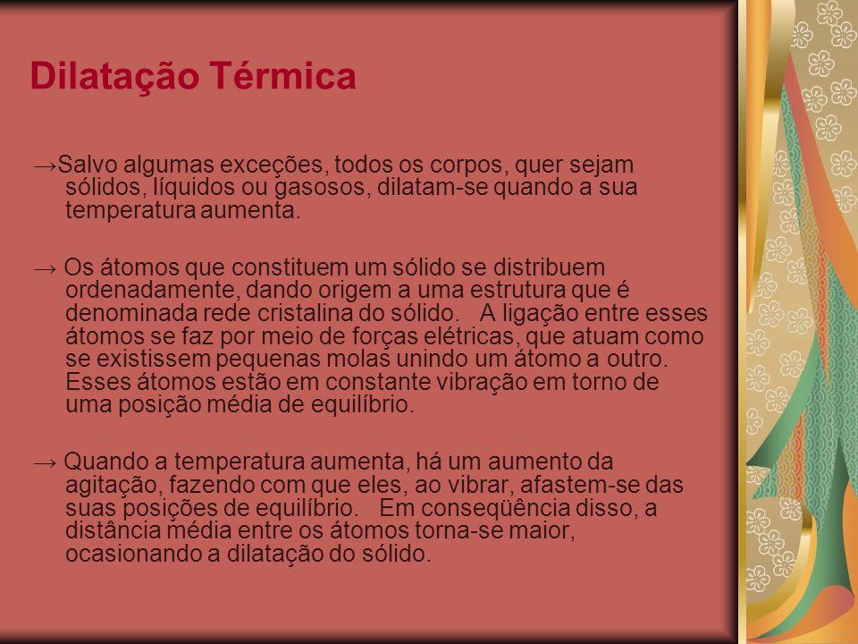 Dilatação Térmica →Salvo algumas exceções, todos os corpos, quer sejam sólidos, líquidos ou gasosos, dilatam-se quando a sua temperatura aumenta.