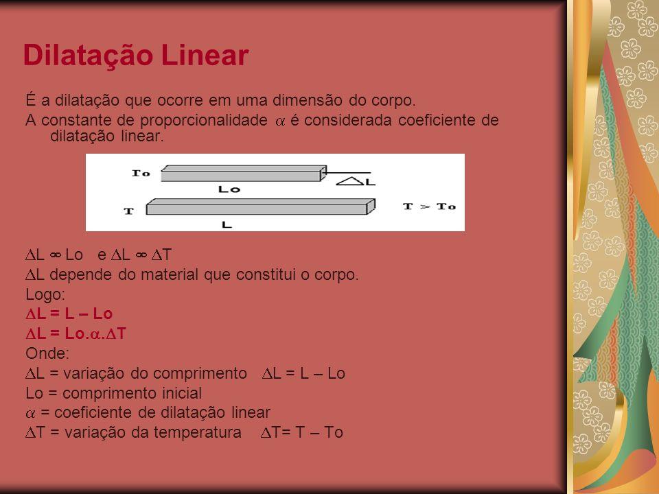 Dilatação Linear É a dilatação que ocorre em uma dimensão do corpo.
