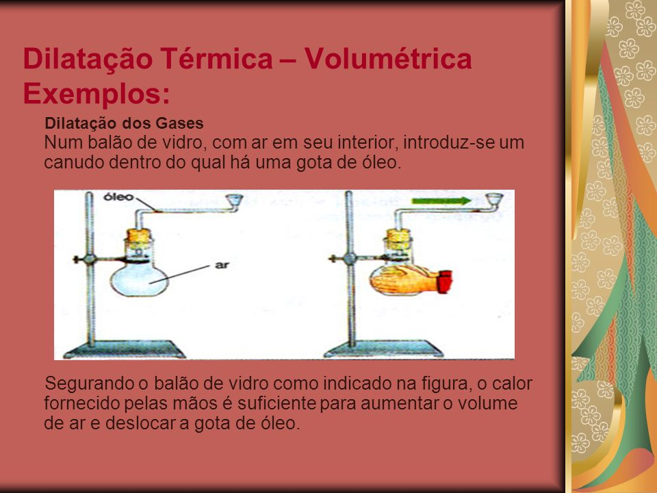 Dilatação Térmica – Volumétrica Exemplos: