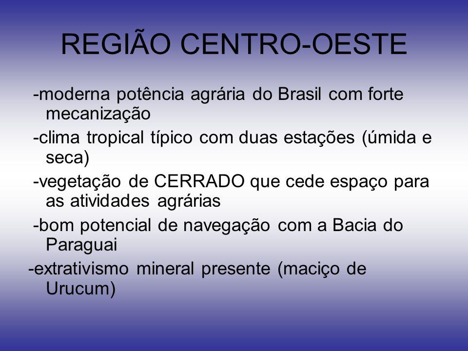REGIÃO CENTRO-OESTE -moderna potência agrária do Brasil com forte mecanização. -clima tropical típico com duas estações (úmida e seca)