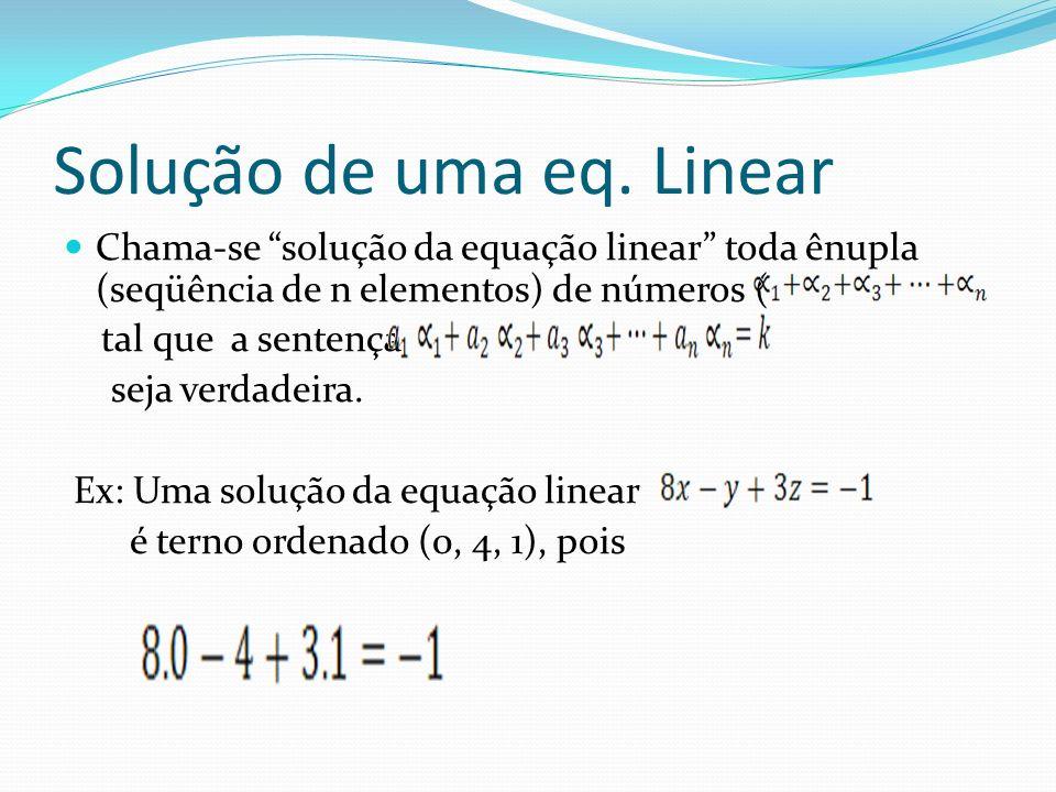 Solução de uma eq. Linear