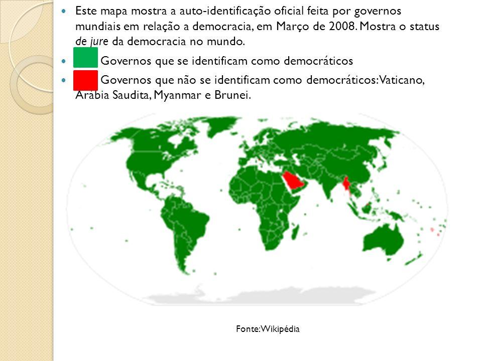 ██ Governos que se identificam como democráticos