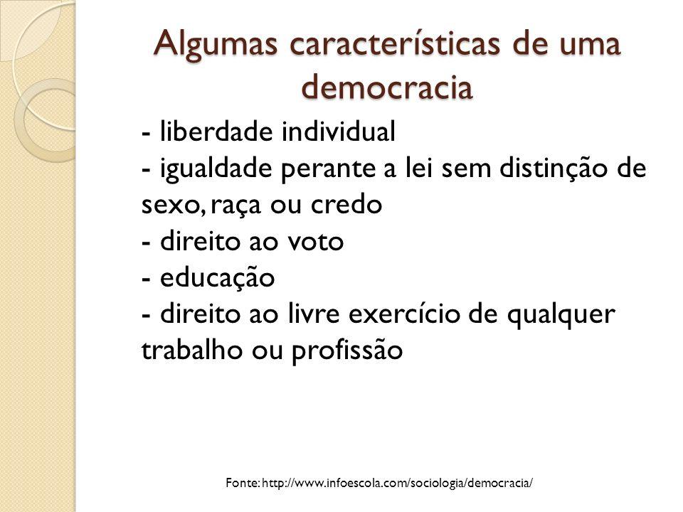 Algumas características de uma democracia