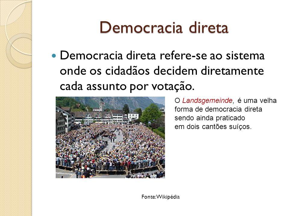 Democracia direta Democracia direta refere-se ao sistema onde os cidadãos decidem diretamente cada assunto por votação.