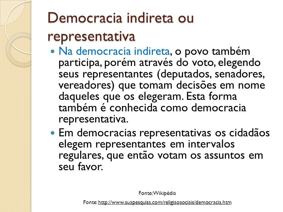 Democracia indireta ou representativa