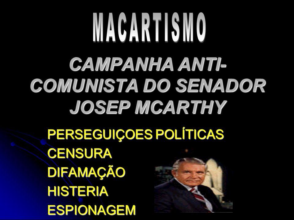 CAMPANHA ANTI-COMUNISTA DO SENADOR JOSEP MCARTHY