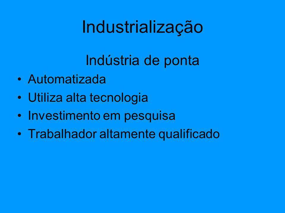 Industrialização Indústria de ponta Automatizada
