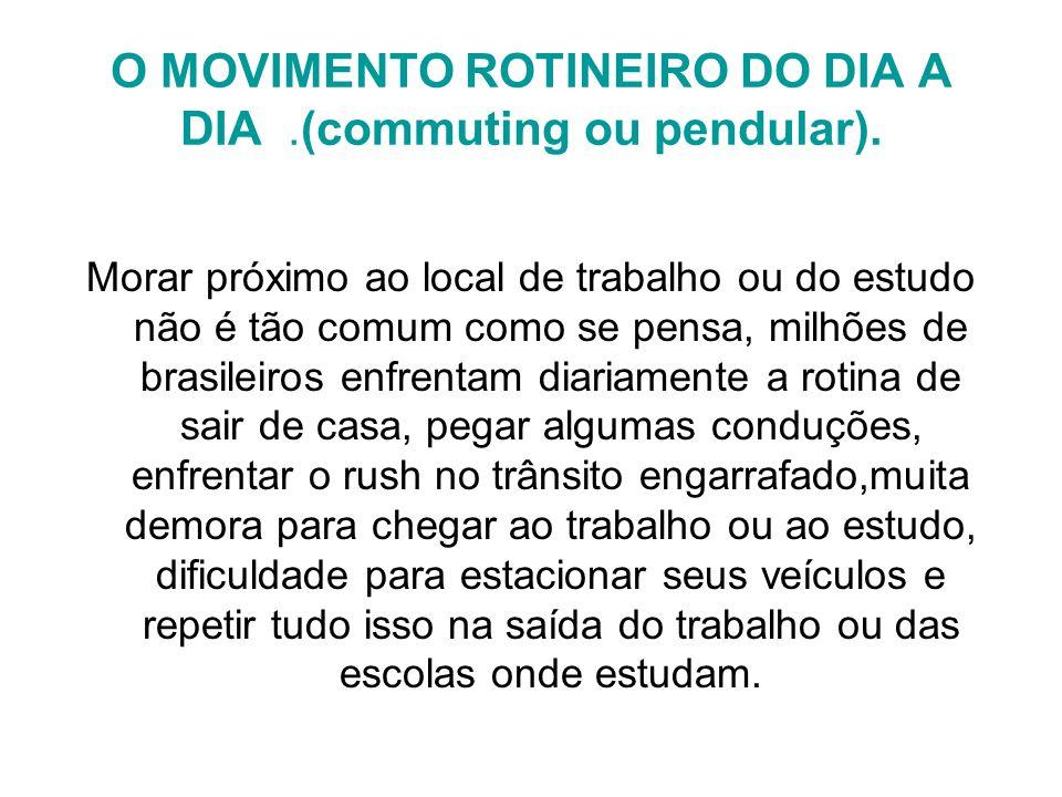 O MOVIMENTO ROTINEIRO DO DIA A DIA .(commuting ou pendular).
