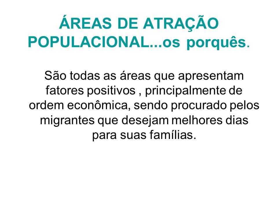 ÁREAS DE ATRAÇÃO POPULACIONAL...os porquês.