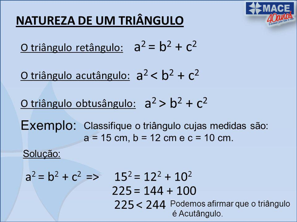 a2 = b2 + c2 a2 < b2 + c2 a2 > b2 + c2 NATUREZA DE UM TRIÂNGULO