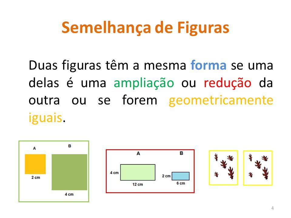 Semelhança de Figuras Duas figuras têm a mesma forma se uma delas é uma ampliação ou redução da outra ou se forem geometricamente iguais.