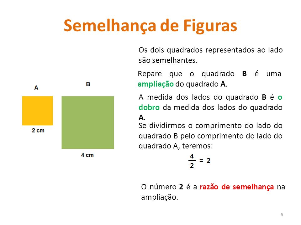 Semelhança de Figuras Os dois quadrados representados ao lado são semelhantes. Repare que o quadrado B é uma ampliação do quadrado A.