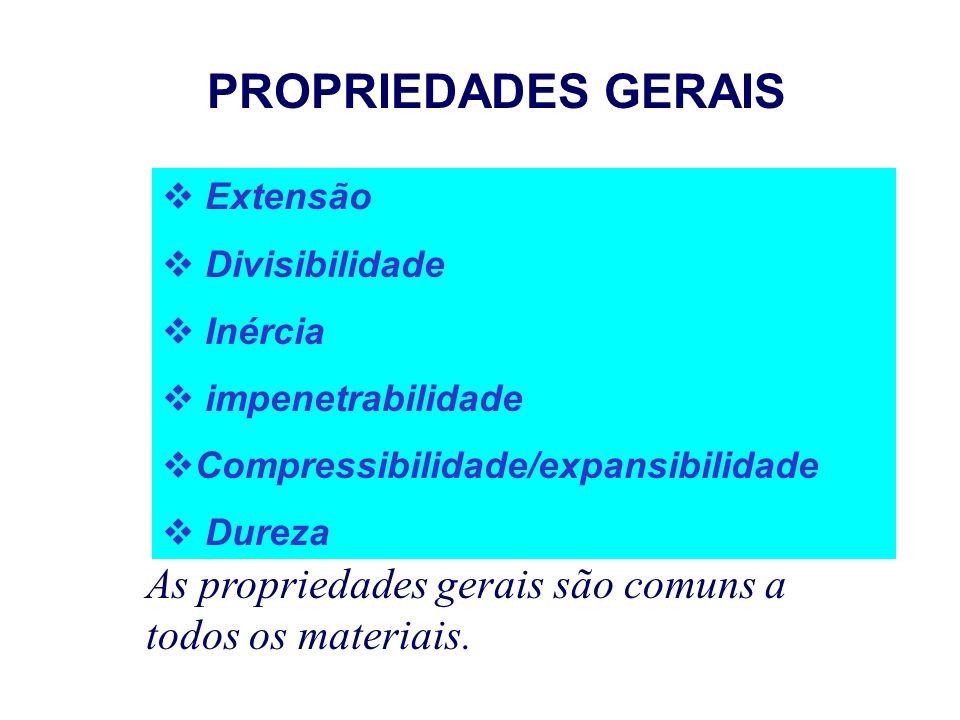 PROPRIEDADES GERAIS Extensão. Divisibilidade. Inércia. impenetrabilidade. Compressibilidade/expansibilidade.