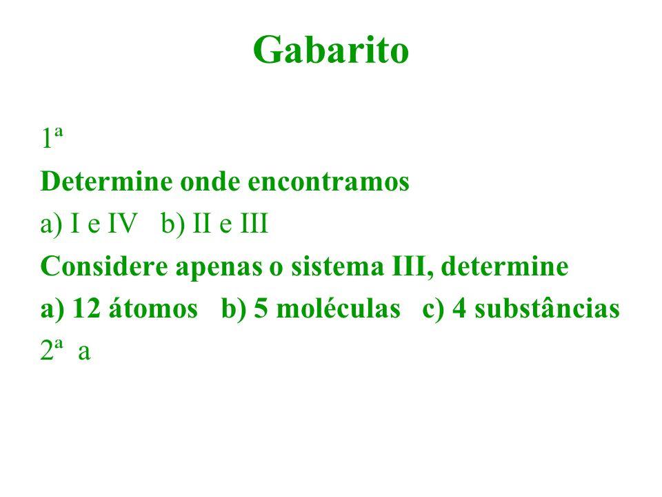 Gabarito 1ª Determine onde encontramos a) I e IV b) II e III