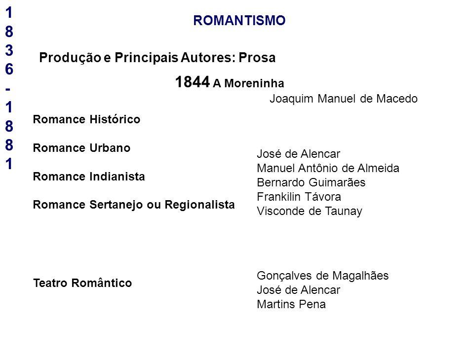 18 3 6 - 1881 1844 A Moreninha ROMANTISMO