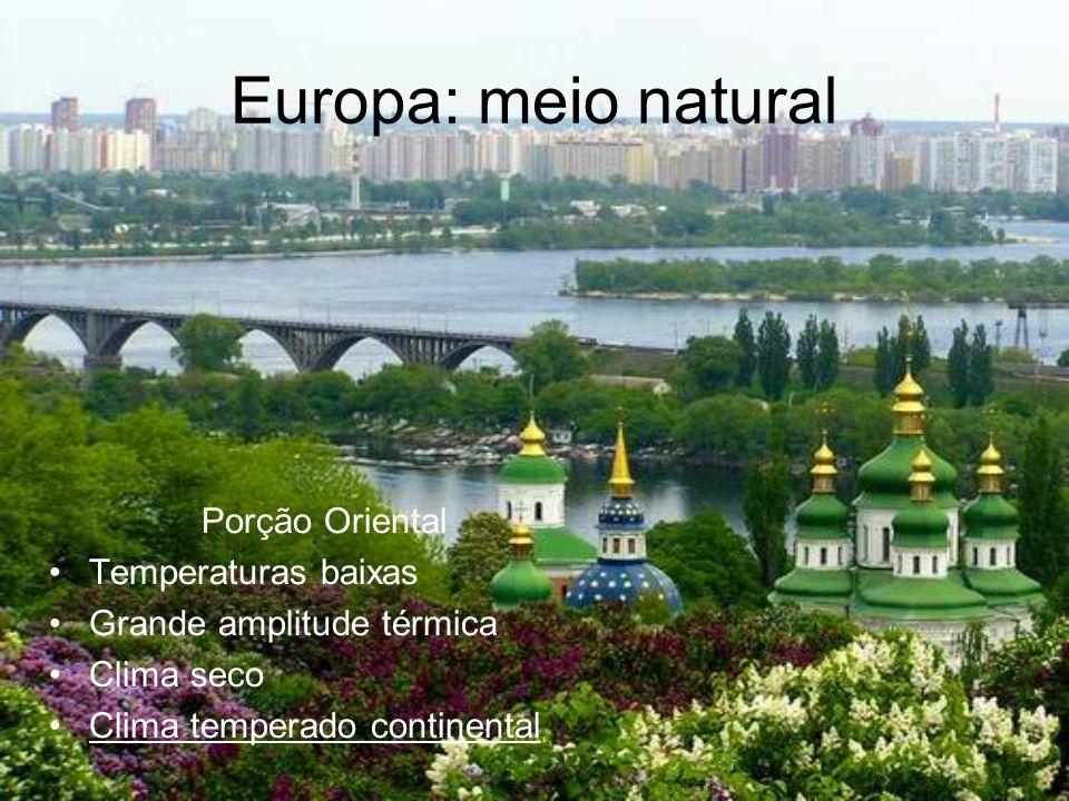 Europa: meio natural Porção Oriental Temperaturas baixas