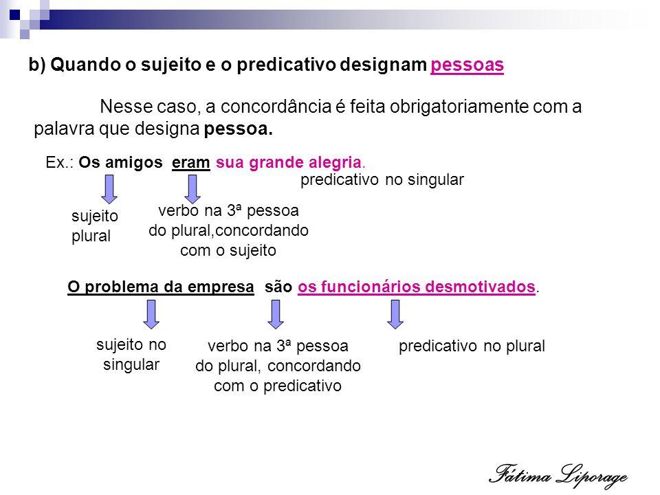 Fátima Liporage b) Quando o sujeito e o predicativo designam pessoas