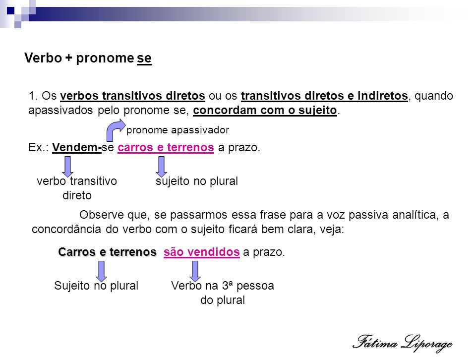 Fátima Liporage Verbo + pronome se