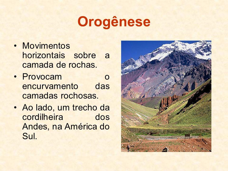 Orogênese Movimentos horizontais sobre a camada de rochas.