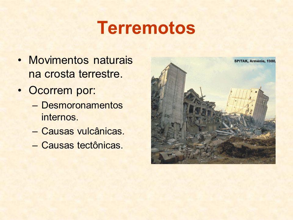 Terremotos Movimentos naturais na crosta terrestre. Ocorrem por: