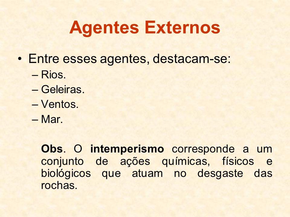 Agentes Externos Entre esses agentes, destacam-se: Rios. Geleiras.