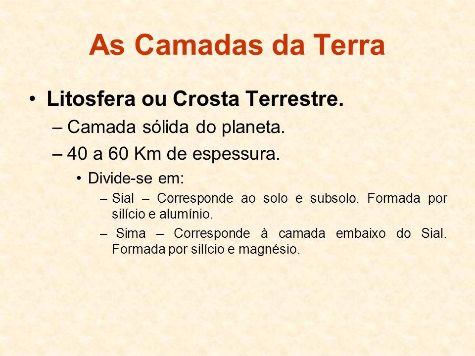 As Camadas da Terra Litosfera ou Crosta Terrestre.