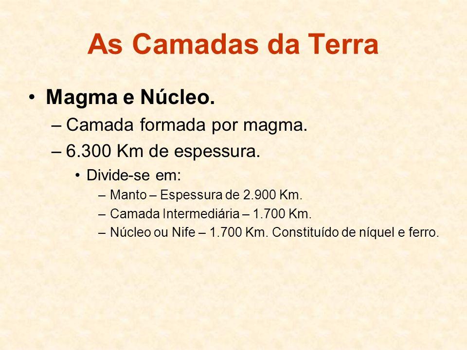 As Camadas da Terra Magma e Núcleo. Camada formada por magma.