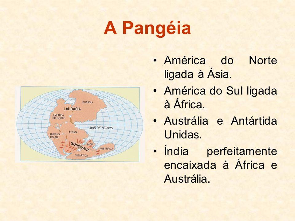 A Pangéia América do Norte ligada à Ásia.