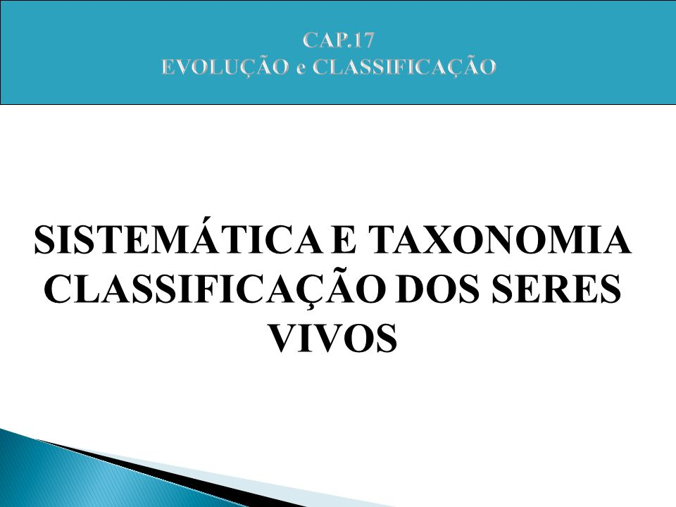 SISTEMÁTICA E TAXONOMIA CLASSIFICAÇÃO DOS SERES VIVOS