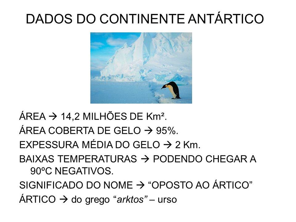 DADOS DO CONTINENTE ANTÁRTICO